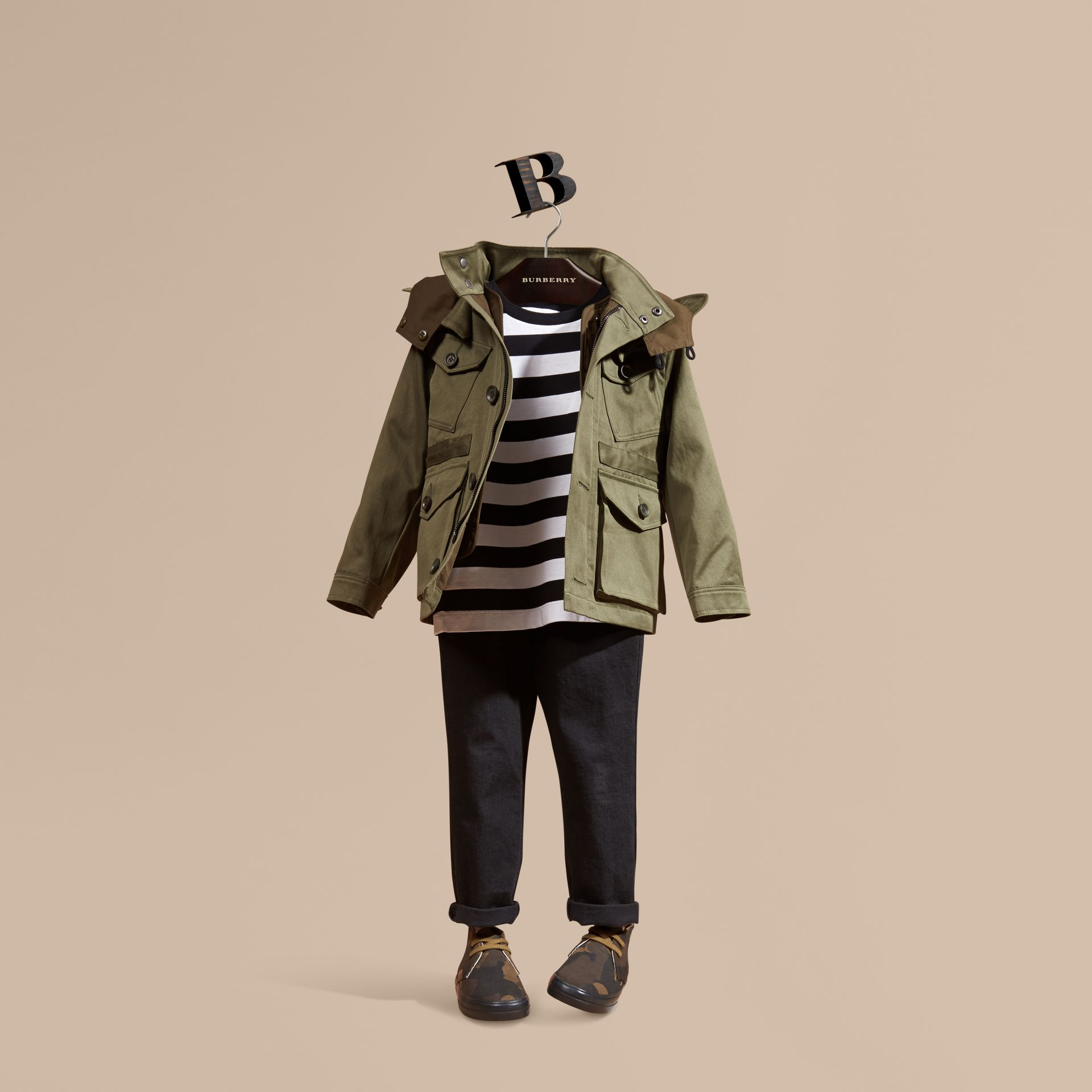 Olive Cotton Field Jacket with Check Warmer - gallery image 1