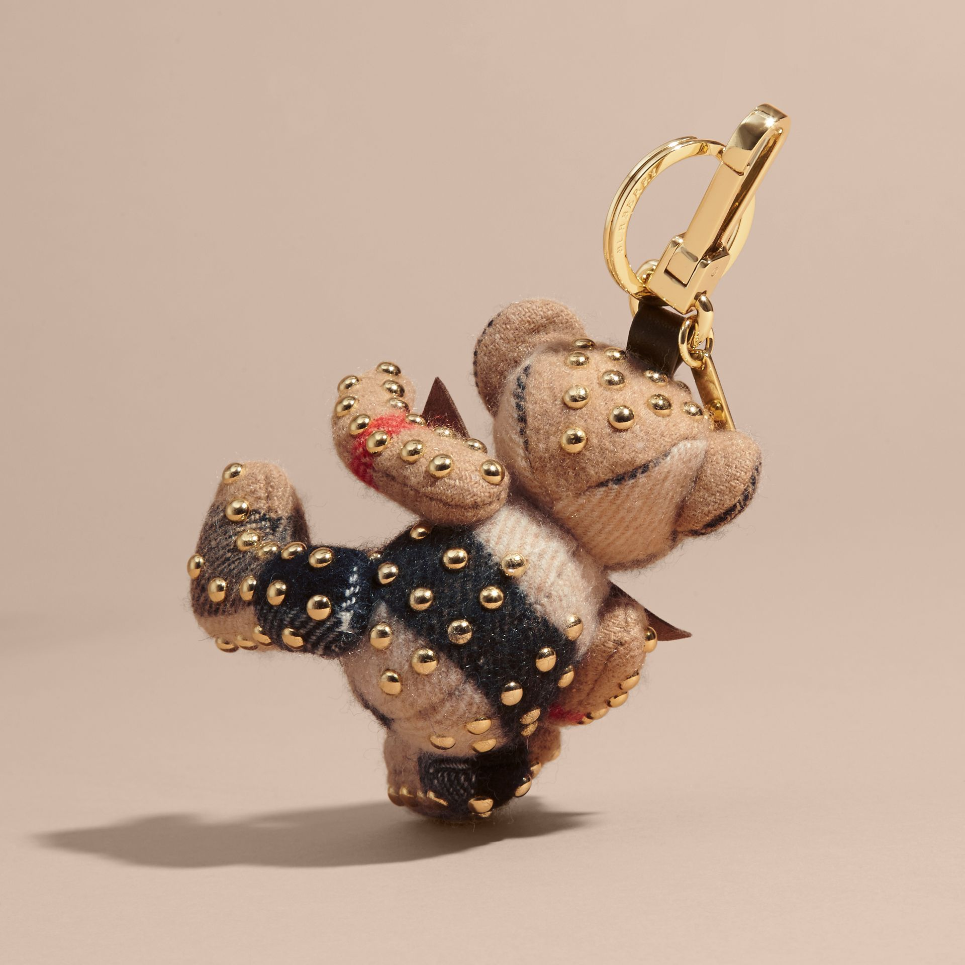 Thomas Bear Charm in Riveted Check Cashmere in Camel - Women | Burberry United Kingdom - gallery image 3