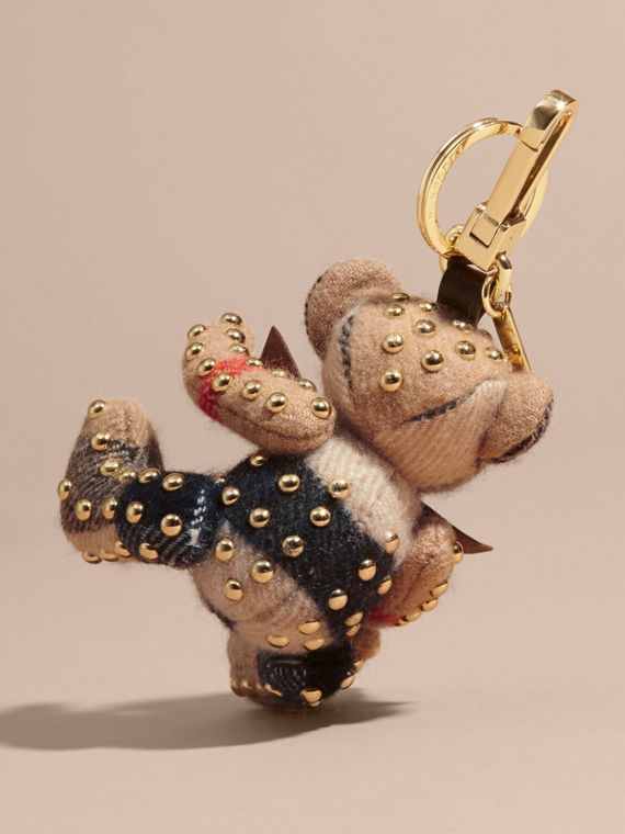 Thomas Bear Charm in Riveted Check Cashmere in Camel - Women | Burberry United Kingdom - cell image 3