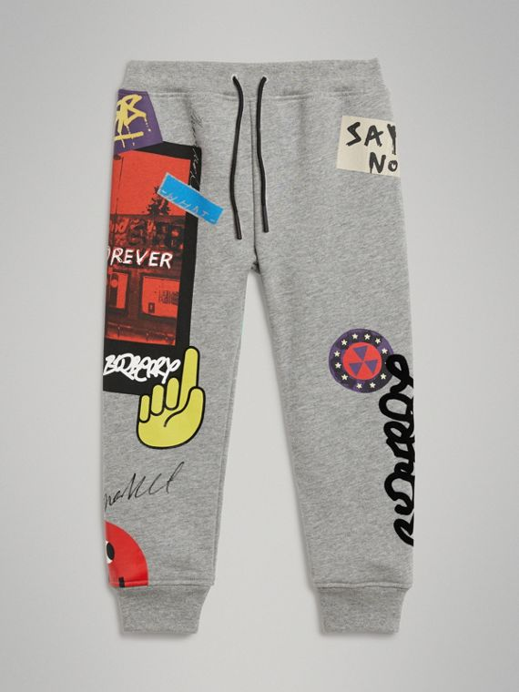 London Street Art Print Cotton Sweatpants in Grey Melange