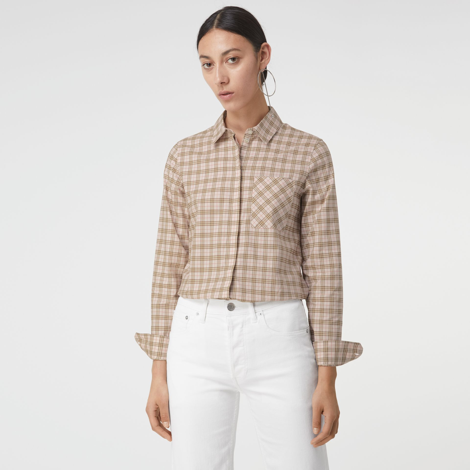 Check Cotton Shirt in Ice Pink - Women | Burberry - gallery image 0