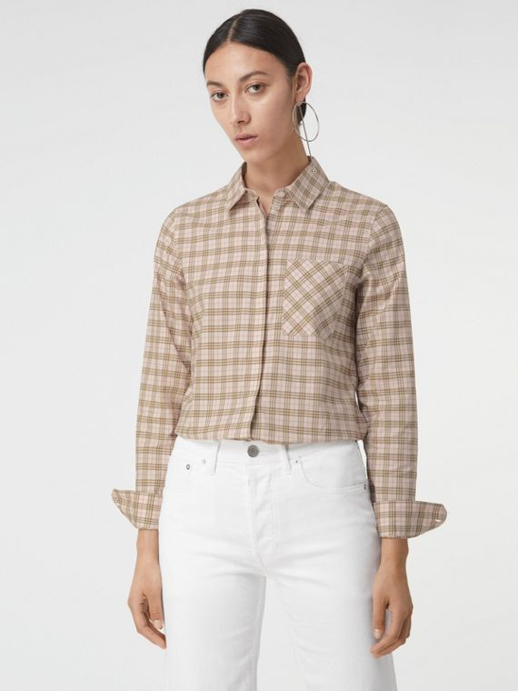 Check Cotton Shirt in Ice Pink