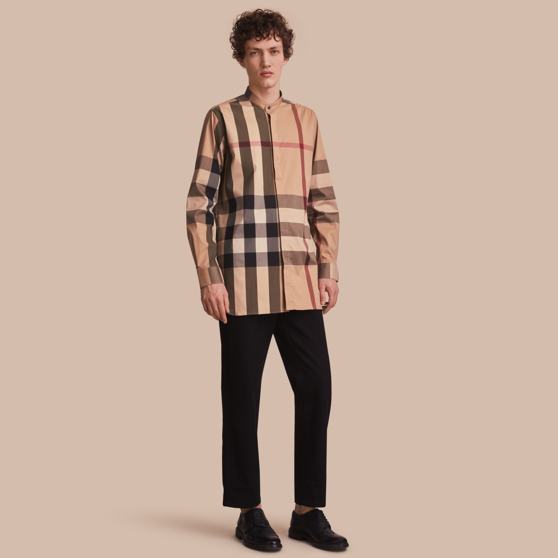 Grandad Collar Check Cotton Blend Shirt in Camel - Men | Burberry - gallery image 1