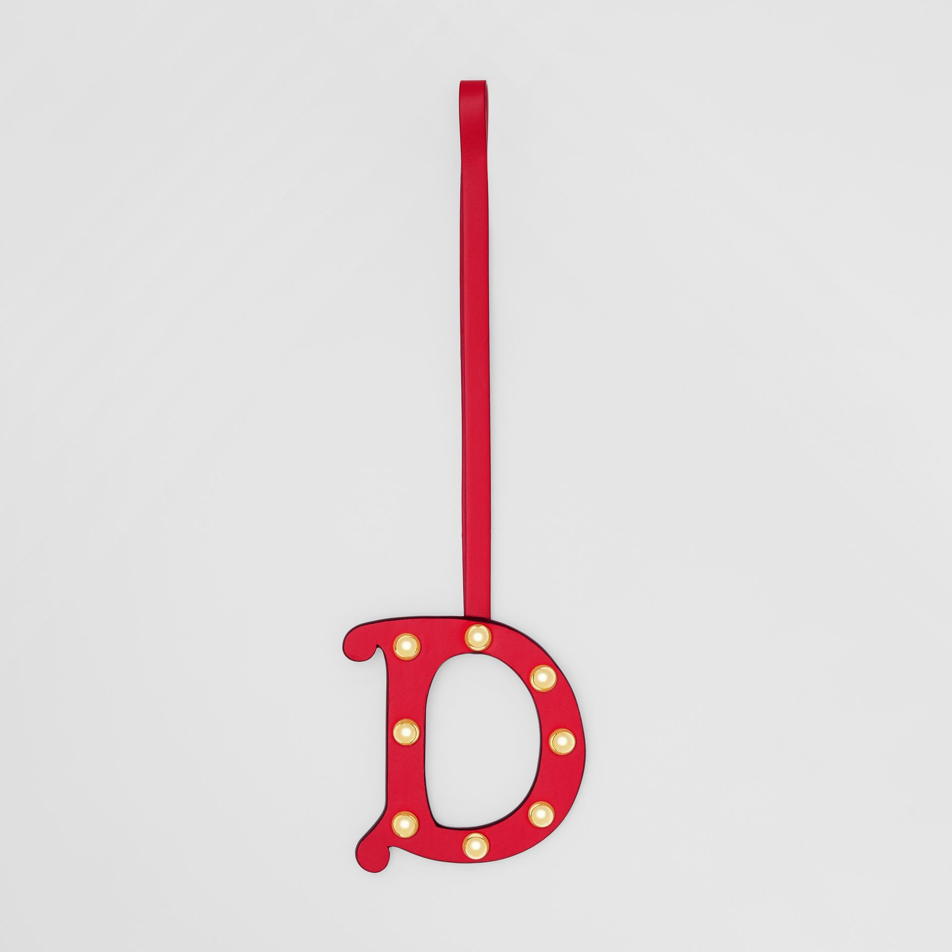 'D' Studded Leather Alphabet Charm in Red/light Gold - Women | Burberry Hong Kong S.A.R - gallery image 0