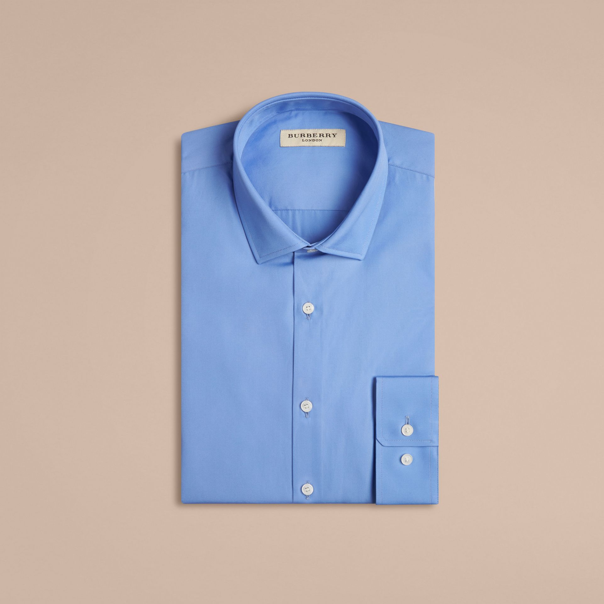 Modern Fit Cotton Poplin Shirt Mid Blue - gallery image 4