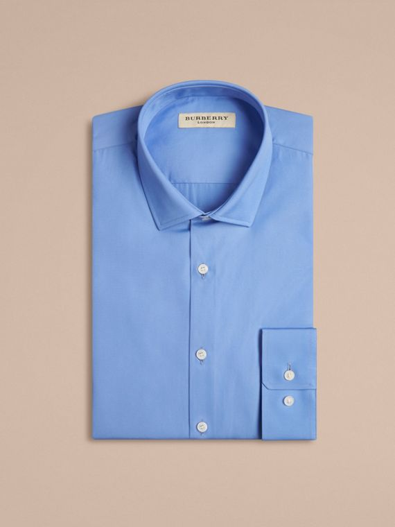 Mid blue Modern Fit Cotton Poplin Shirt Mid Blue - cell image 3