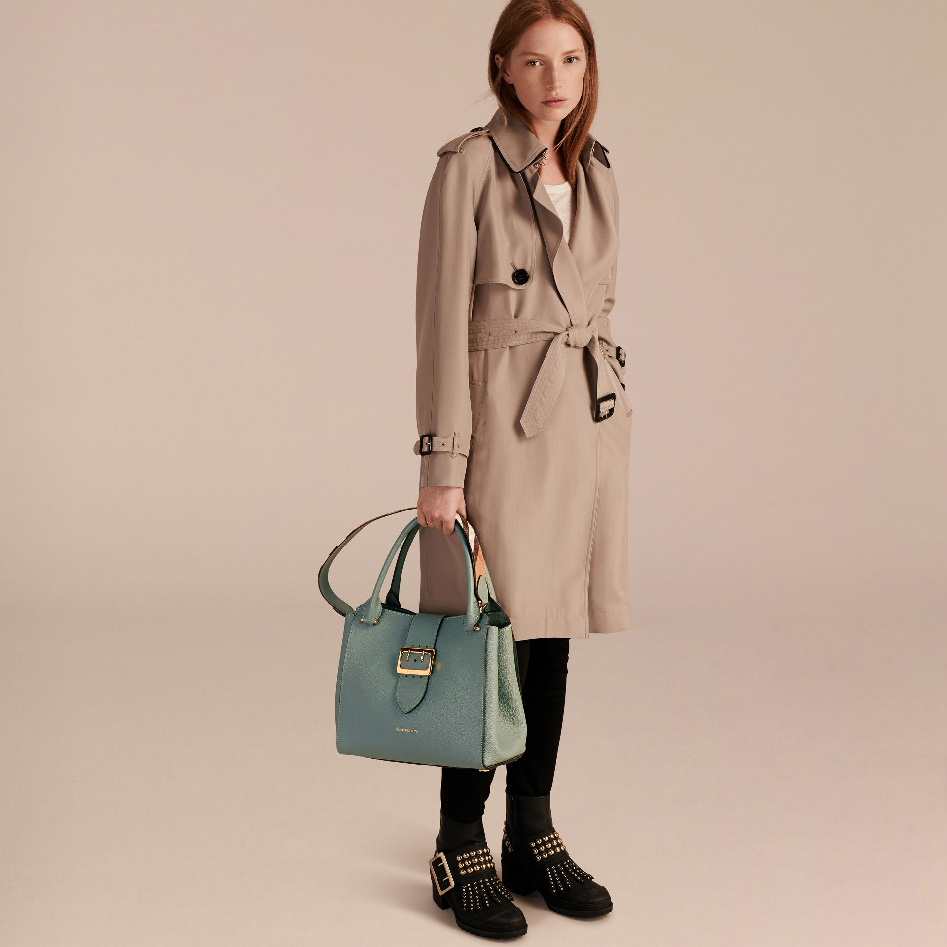 The Medium Buckle Tote in Grainy Leather in Eucalyptus Green - gallery image 3