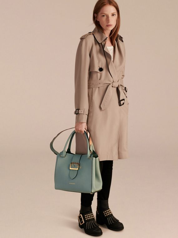 The Medium Buckle Tote in Grainy Leather in Eucalyptus Green - cell image 2