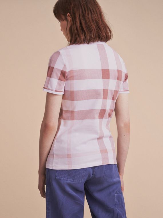 Check Stretch Cotton Piqué Polo Shirt in Antique Rose - Women | Burberry - cell image 2
