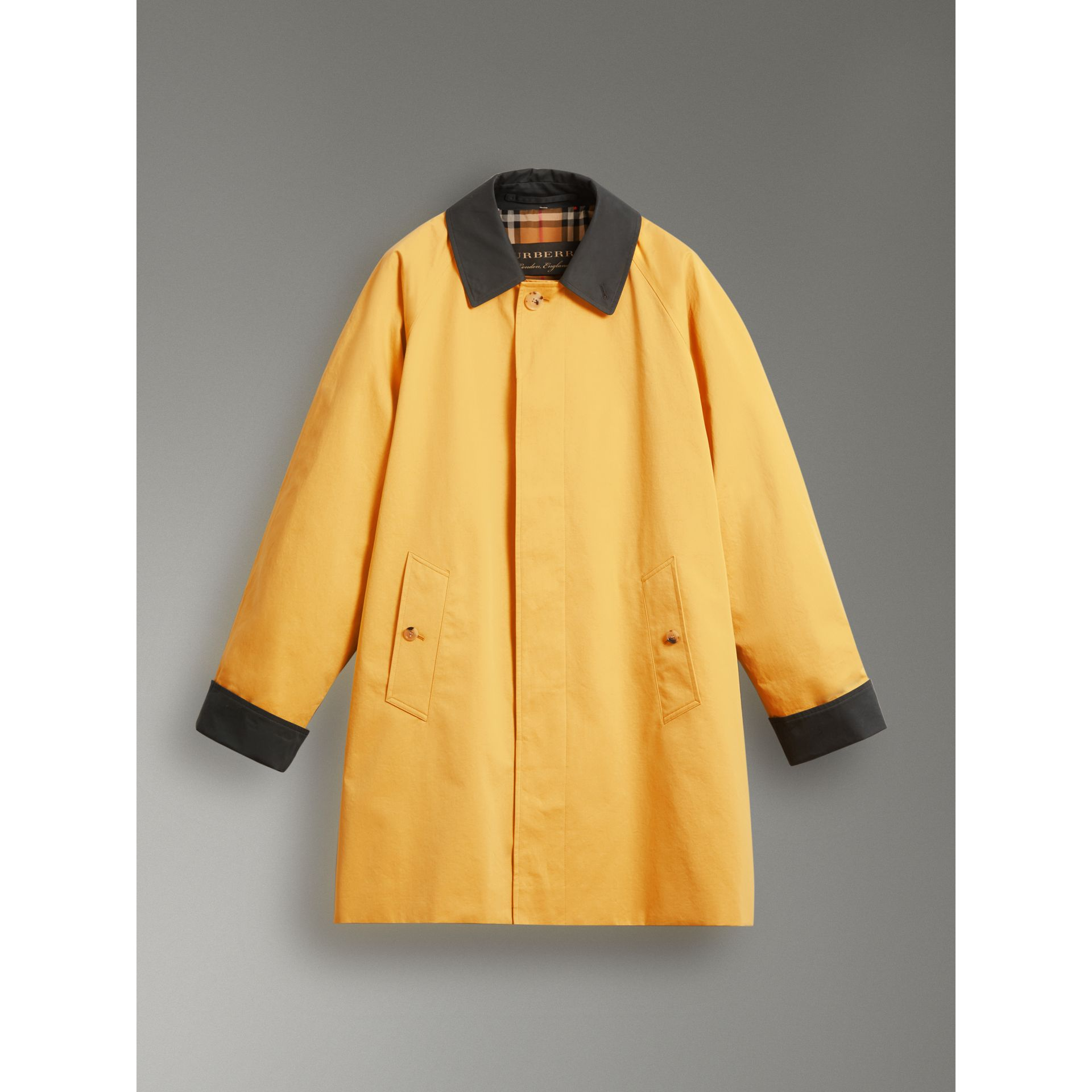 Reissued Waxed Cotton Gabardine Car Coat in Yellow - Women | Burberry United Kingdom - gallery image 3