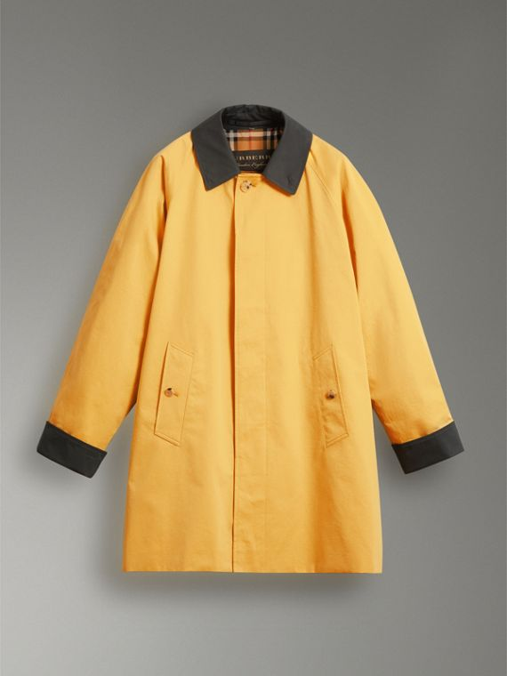 Reissued Waxed Cotton Gabardine Car Coat in Yellow