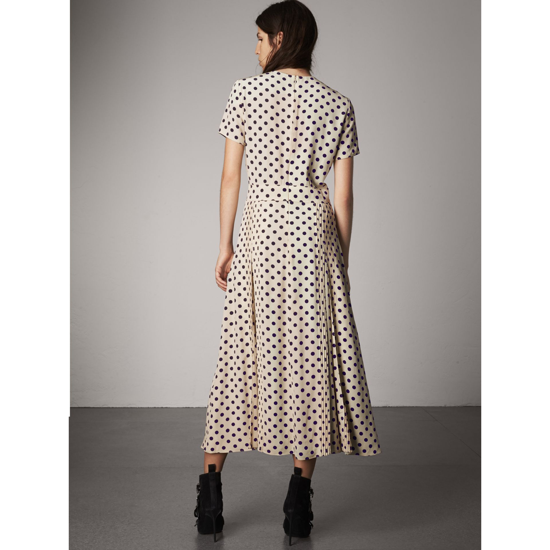 Polka-dot Silk Dress in Navy - Women | Burberry - gallery image 3