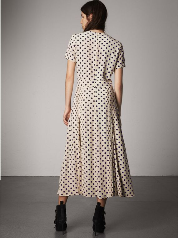 Polka-dot Silk Dress in Navy - Women | Burberry - cell image 2