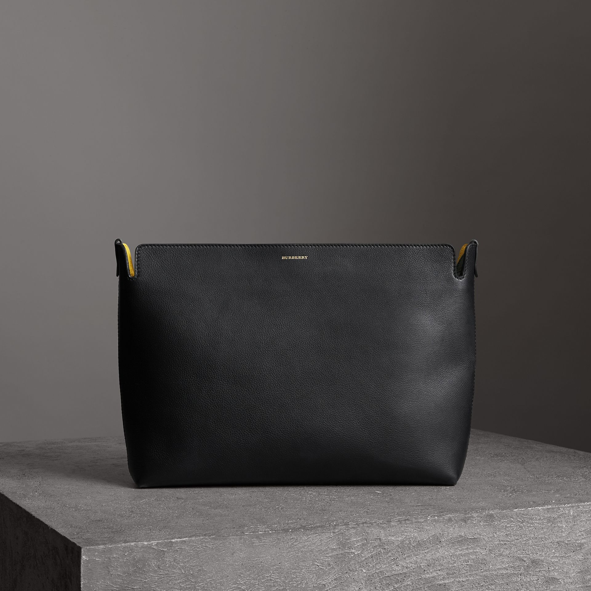 Large Tri-tone Leather Clutch in Black/sea Green | Burberry - gallery image 0