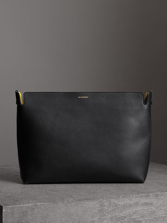 Large Tri-tone Leather Clutch in Black/sea Green