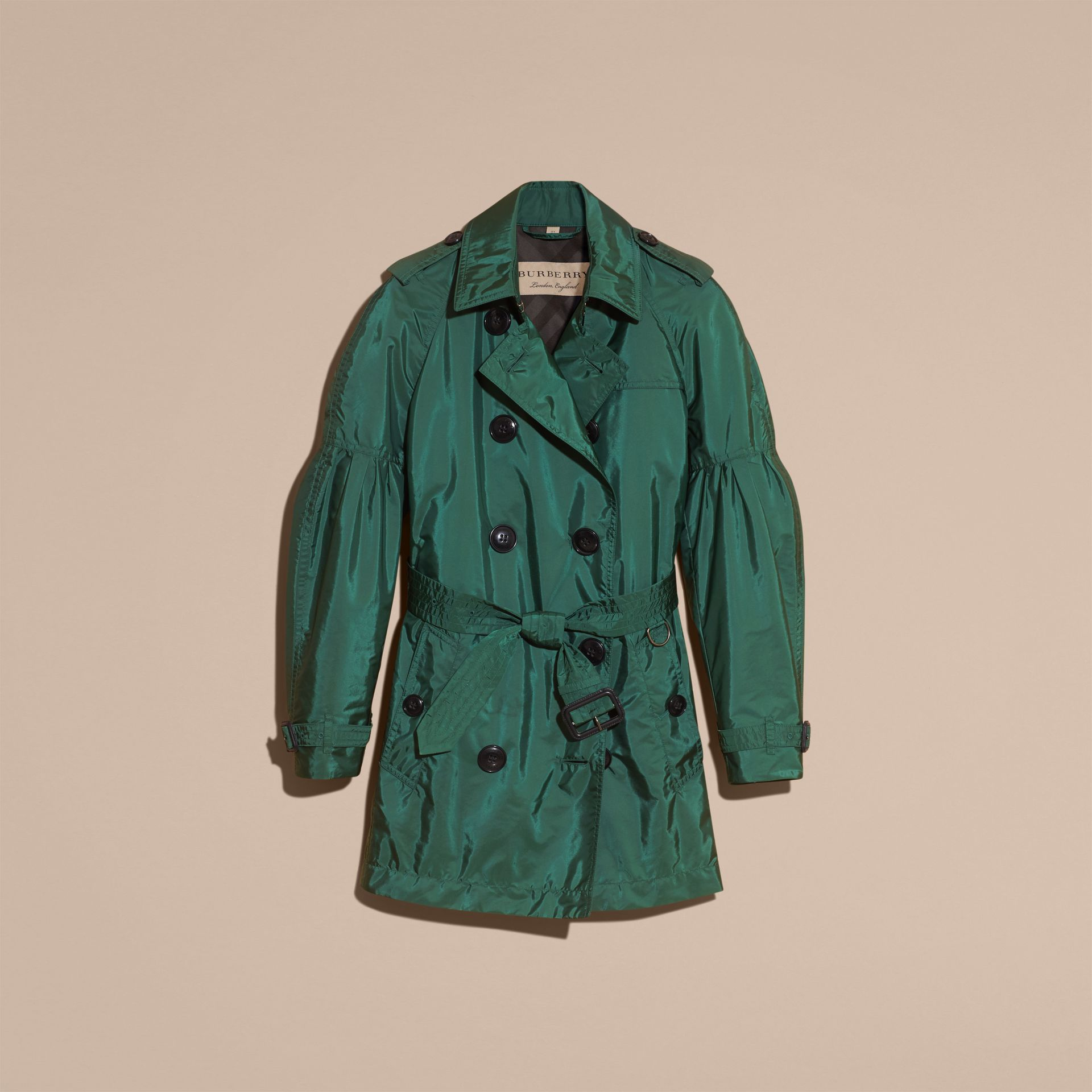 Packaway Trench Coat with Bell Sleeves in Deep Bottle Green - gallery image 4