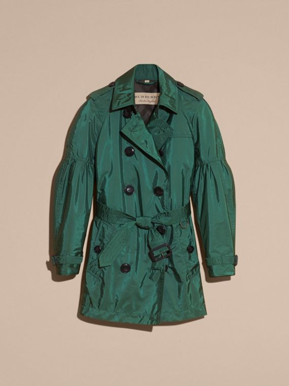 Packaway Trench Coat with Bell Sleeves in Deep Bottle Green - cell image 3