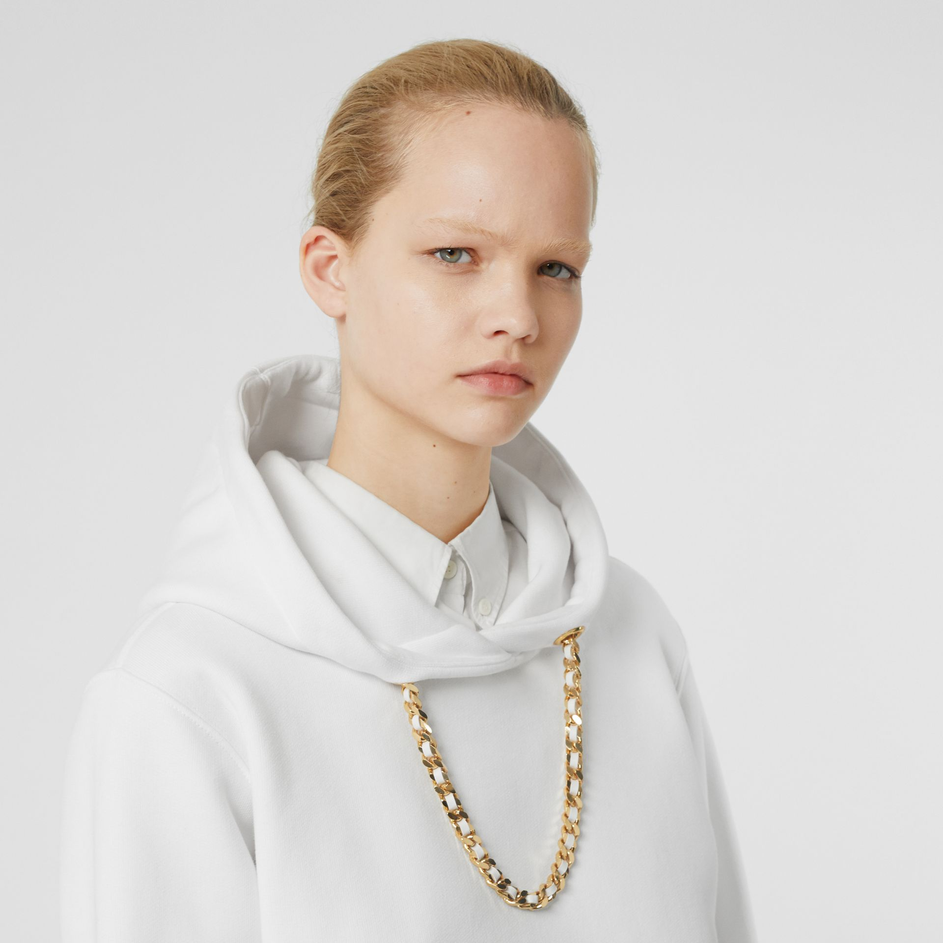 Chain Detail Cotton Oversized Hoodie in White - Women | Burberry - gallery image 1