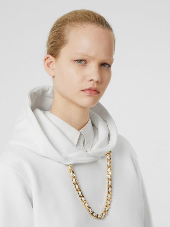 Chain Detail Cotton Oversized Hoodie in White - Women | Burberry - cell image 1