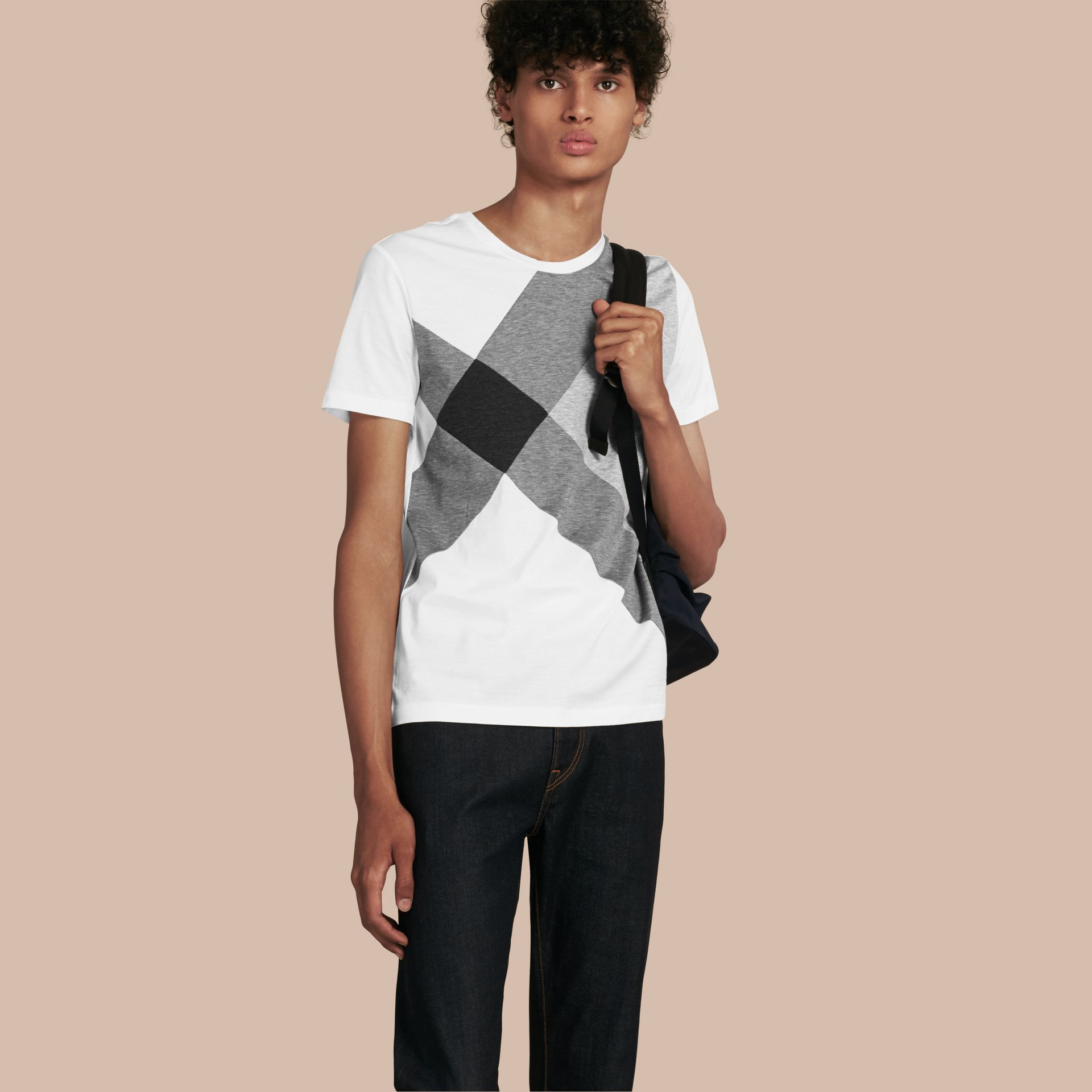 White Exploded Check Print Cotton T-shirt - gallery image 1