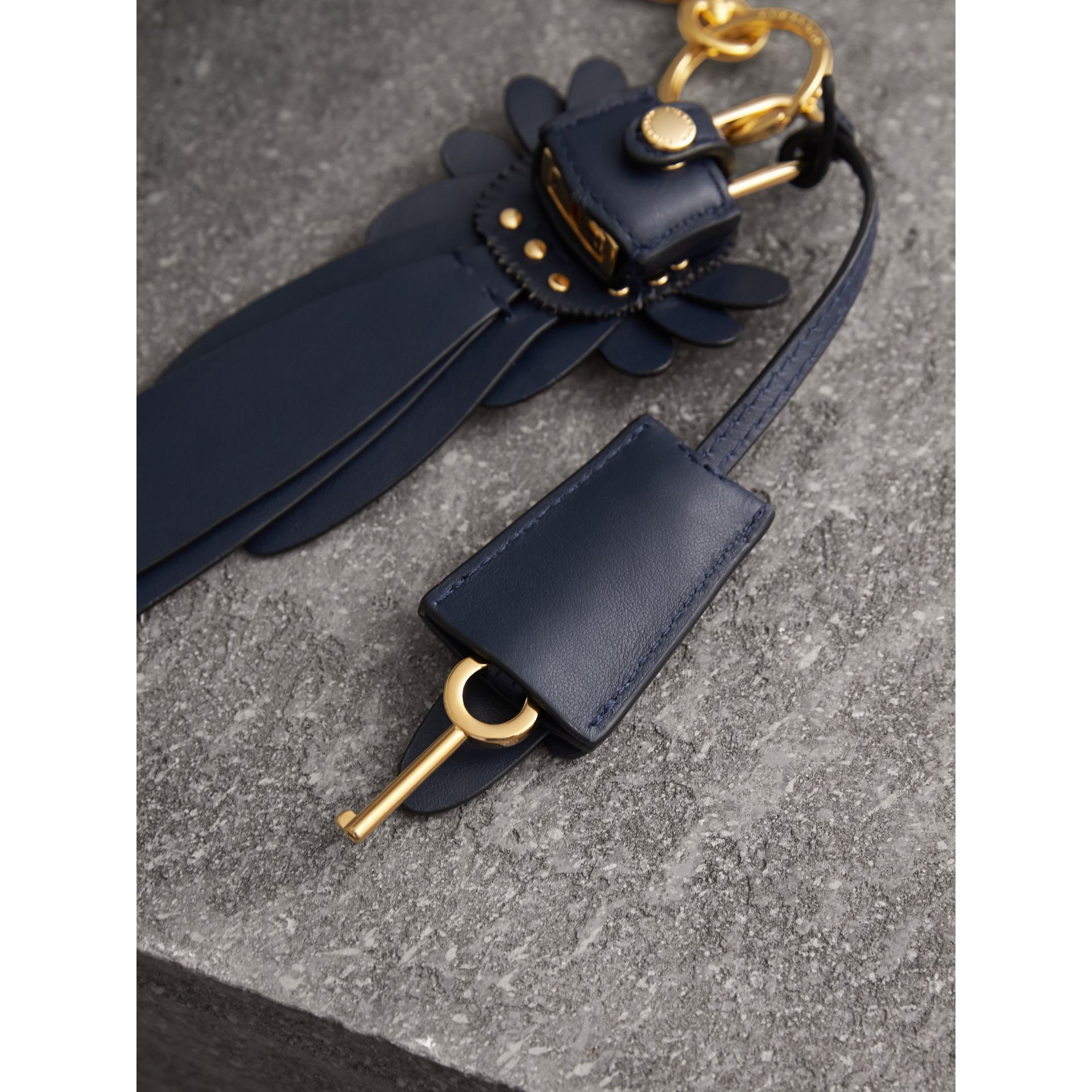 Beasts Leather Key Charm and Padlock in Dark Navy - Women | Burberry - gallery image 3
