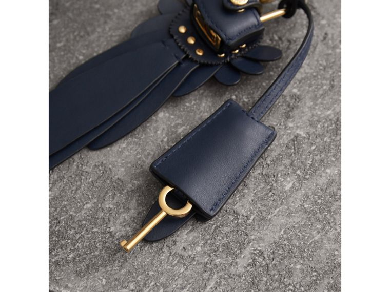 Beasts Leather Key Charm and Padlock in Dark Navy - Women | Burberry - cell image 2