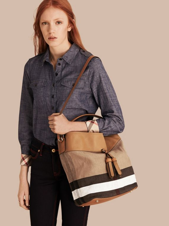 The Medium Ashby in Canvas Check and Leather - cell image 2