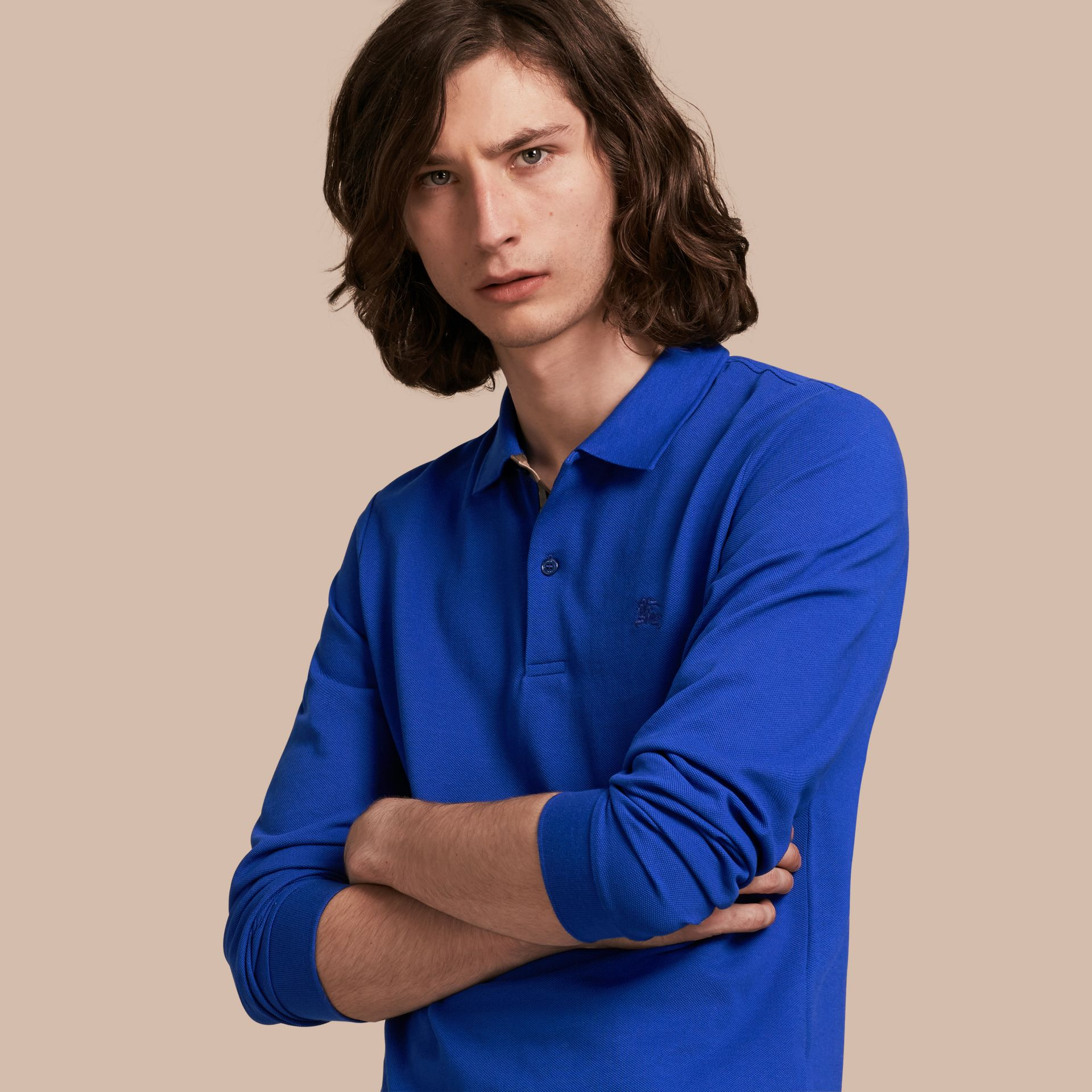 Check Placket Long Sleeve Polo Shirt Brilliant Blue - gallery image 6