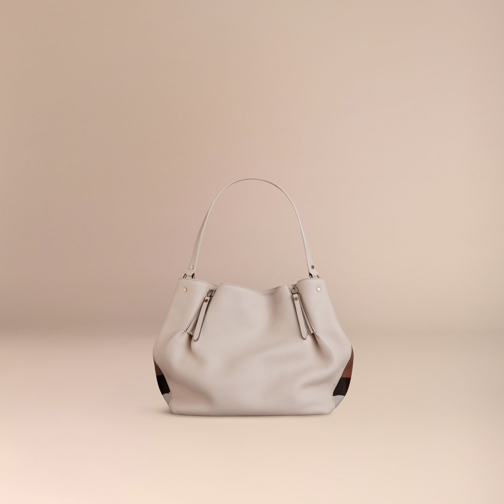White Medium Check Detail Leather Tote Bag White - gallery image 4