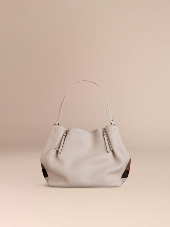 White Medium Check Detail Leather Tote Bag White - cell image 3