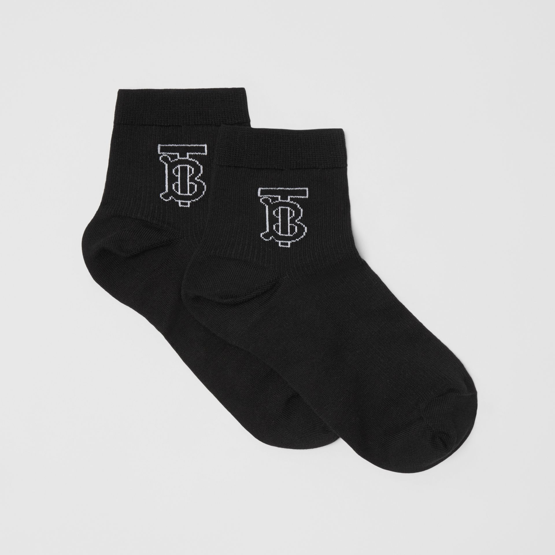 Monogram Intarsia Socks in Black - Women | Burberry - gallery image 2