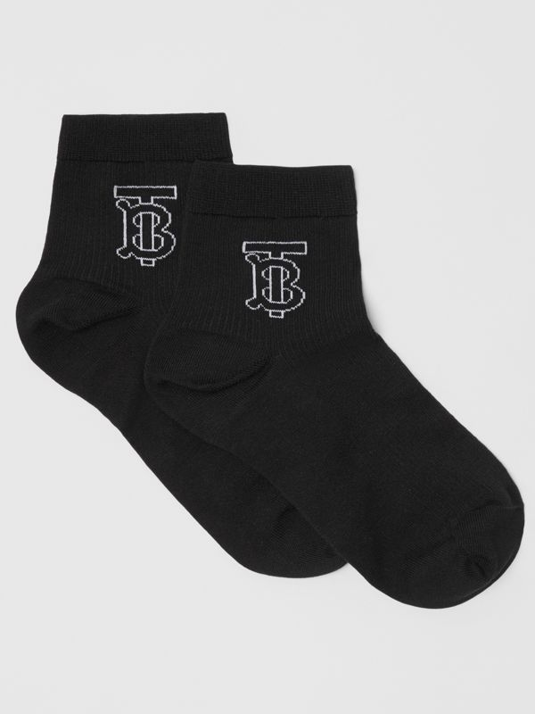 Monogram Intarsia Socks in Black | Burberry Singapore - cell image 2