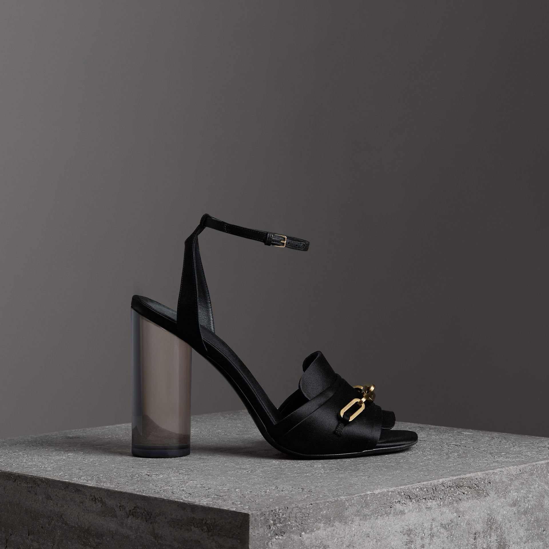 Link Detail Perspex Heel Satin Sandals in Black - Women | Burberry - gallery image 0