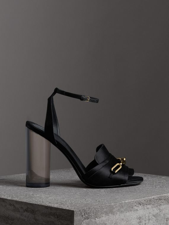 Link Detail Perspex Heel Satin Sandals in Black