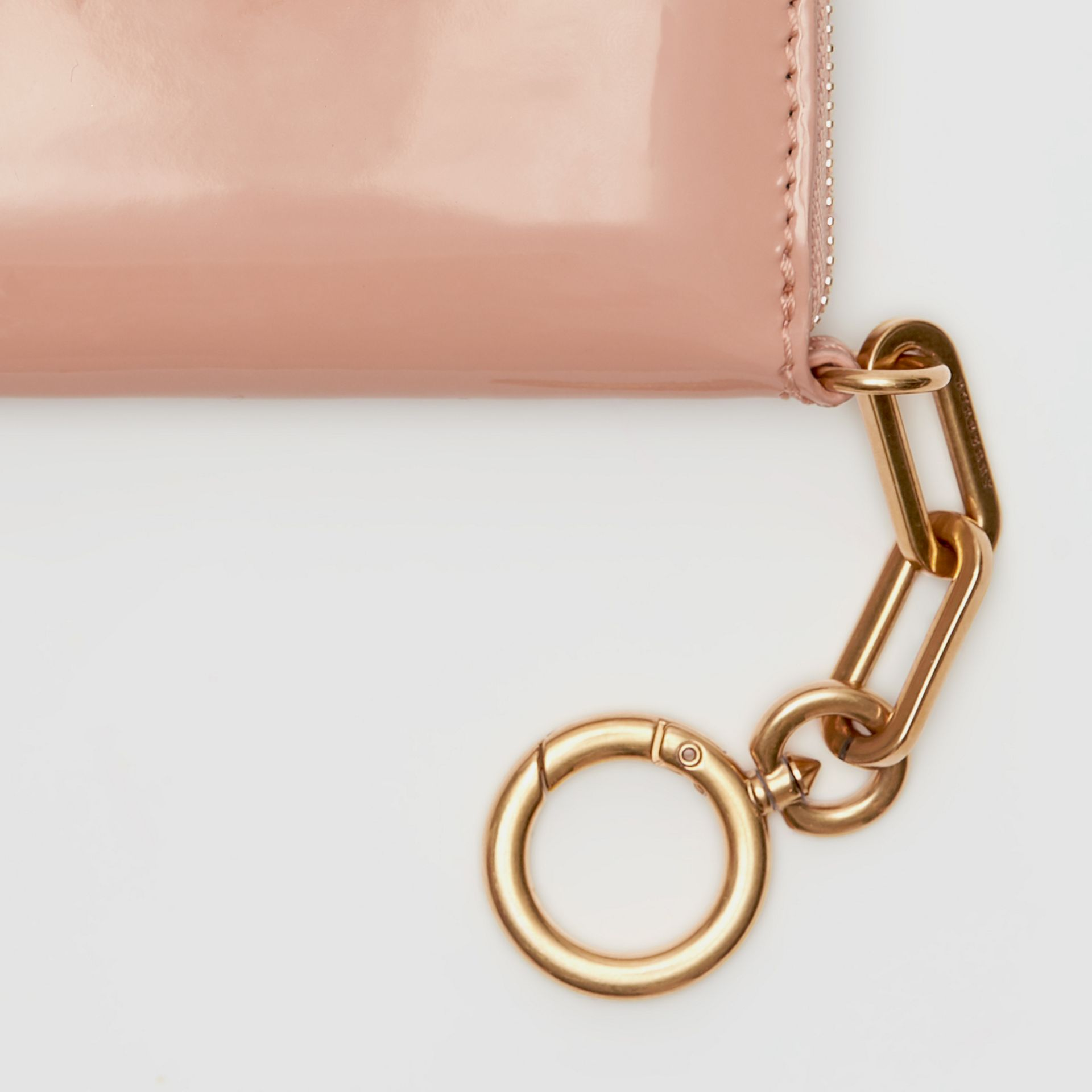 Link Detail Patent Leather Ziparound Wallet in Pale Fawn Pink - Women | Burberry Singapore - gallery image 1