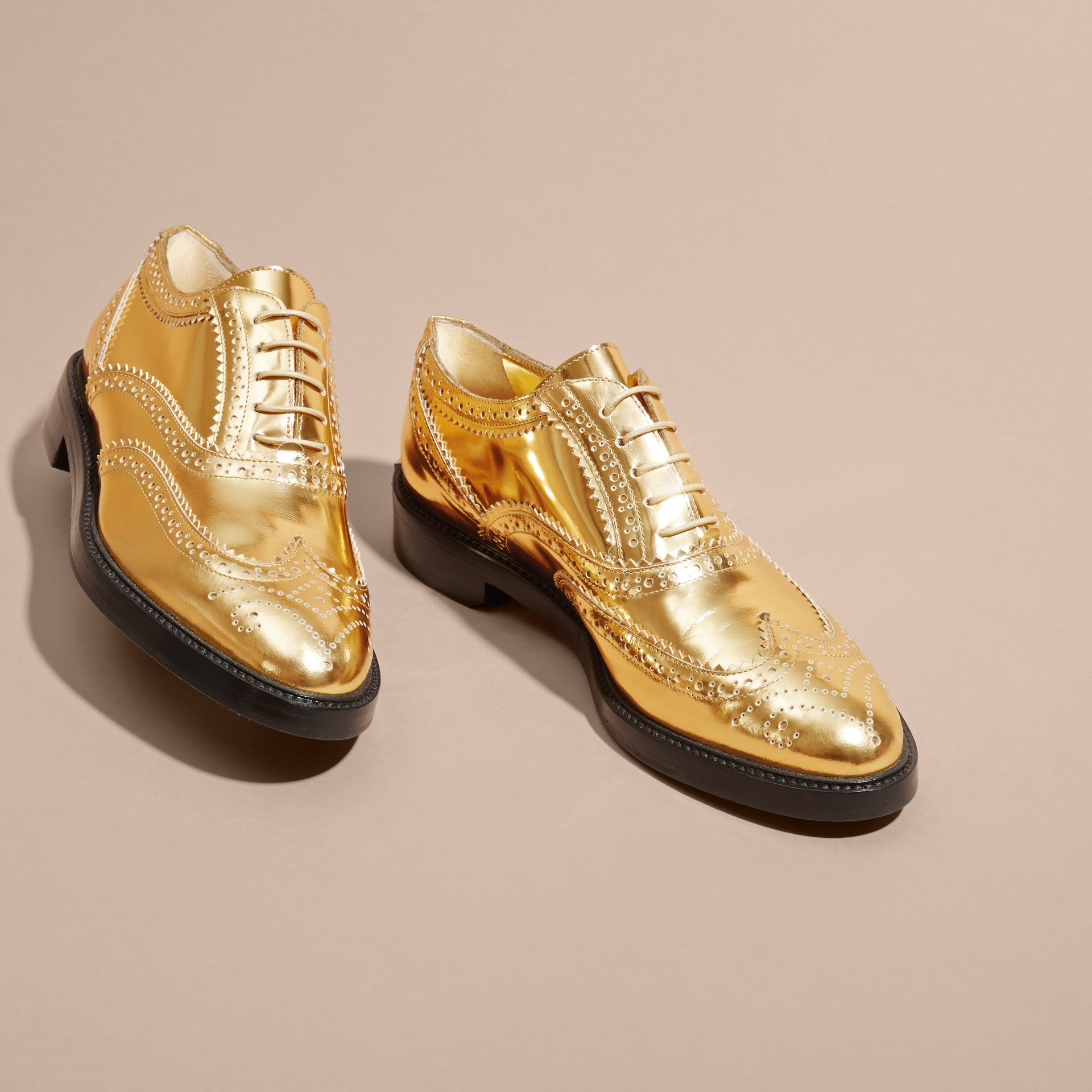Metallic Leather Wingtip Brogues Antique Gold - gallery image 3