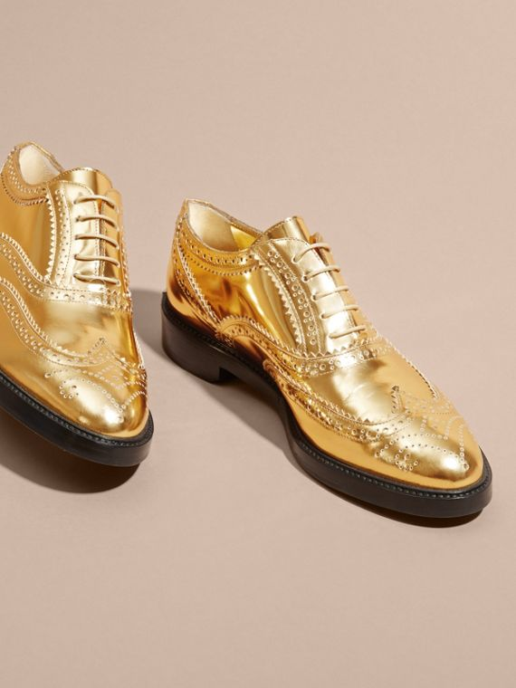 Metallic Leather Wingtip Brogues Antique Gold - cell image 2