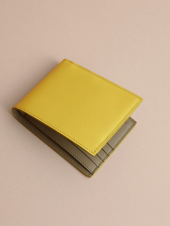 London Leather Folding Wallet in Bright Citrus | Burberry Australia - cell image 3