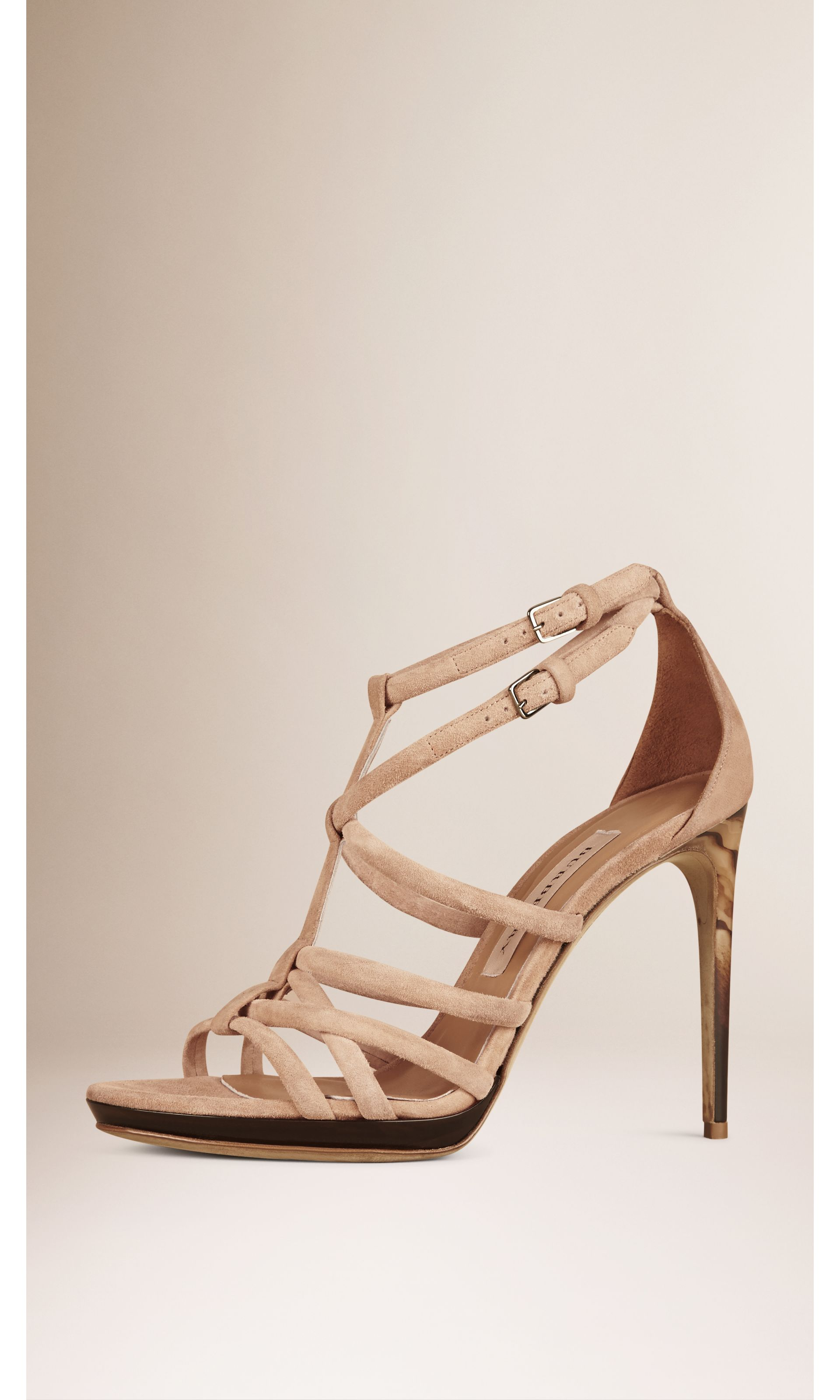 Multi-strap Suede Sandals in Honey - Women   Burberry United States - gallery image 0
