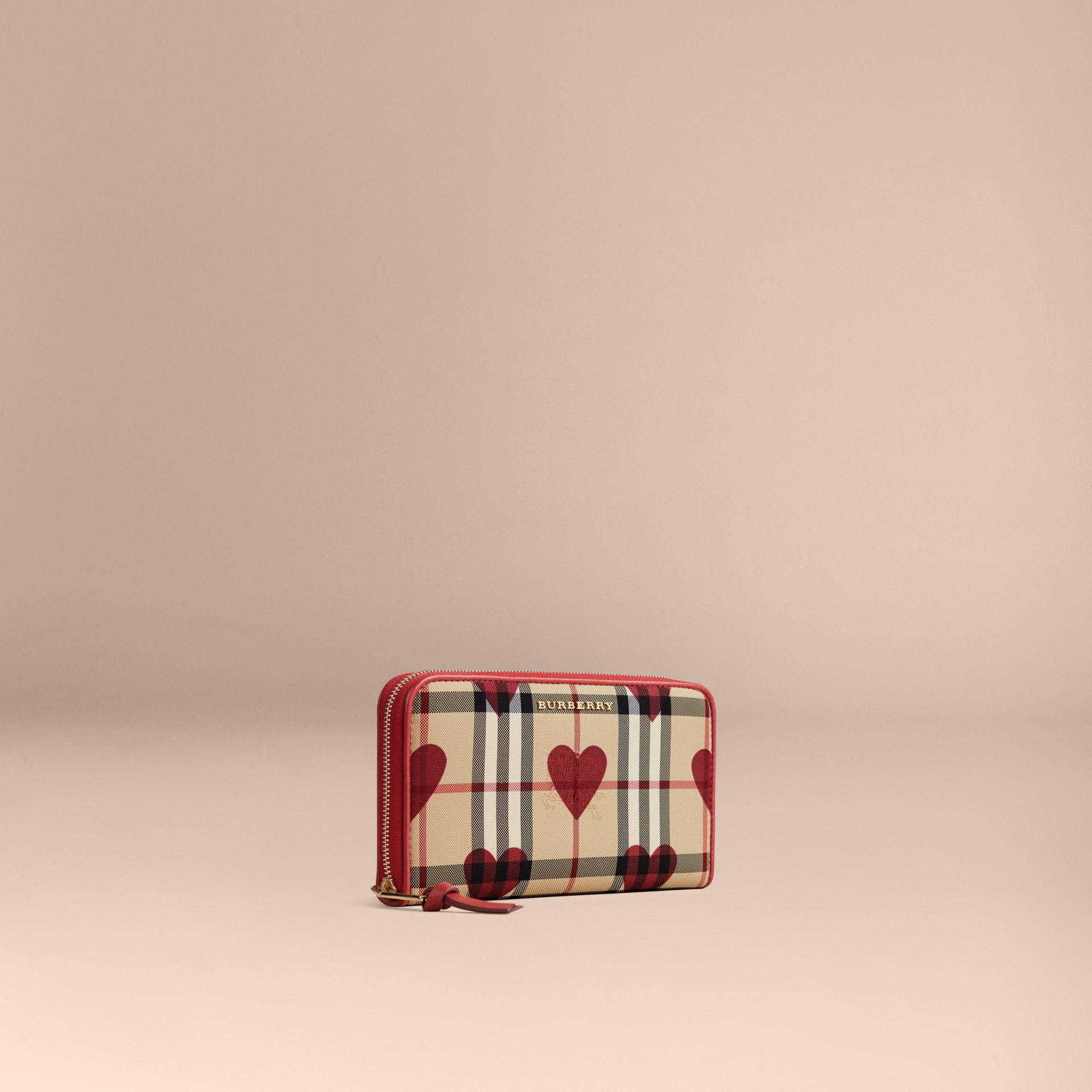 Horseferry Check and Hearts Ziparound Wallet in Parade Red - gallery image 1