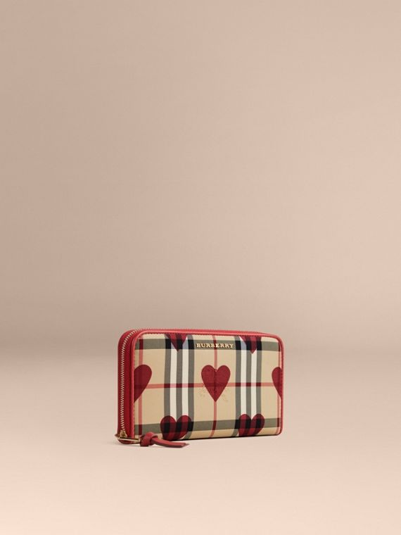 Horseferry Check and Hearts Ziparound Wallet Parade Red
