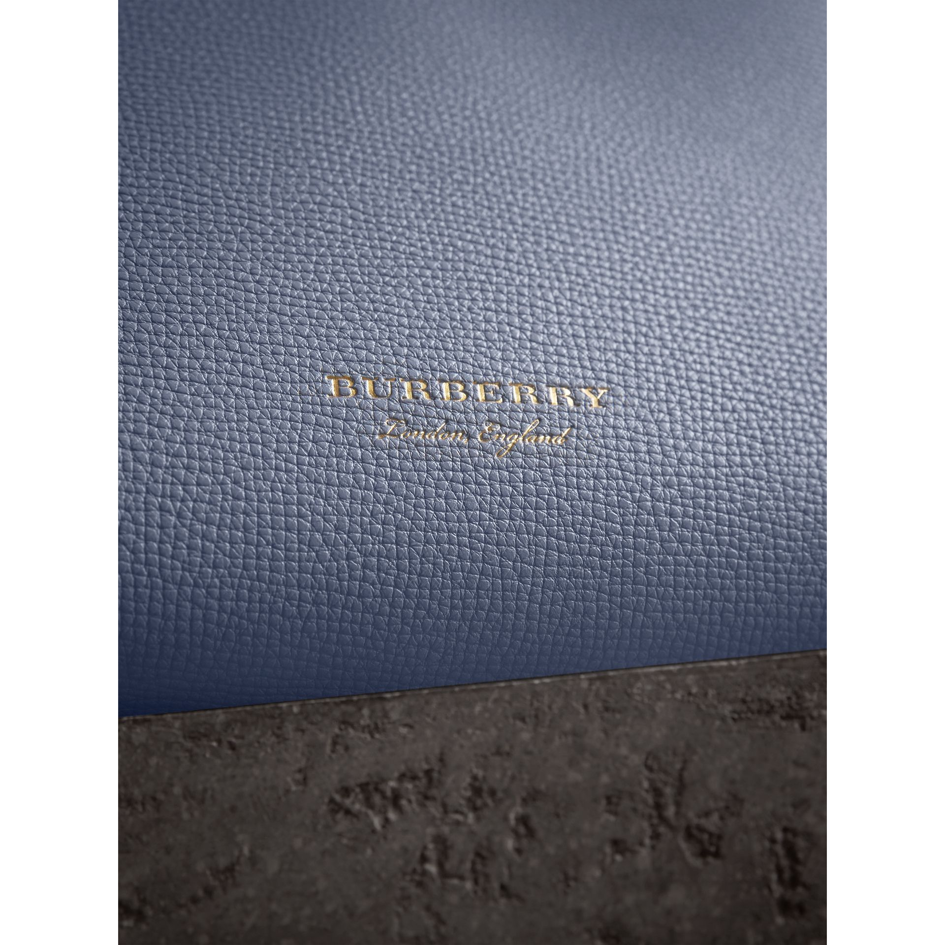 The Small Banner in Leather and House Check in Slate Blue - Women | Burberry - gallery image 1