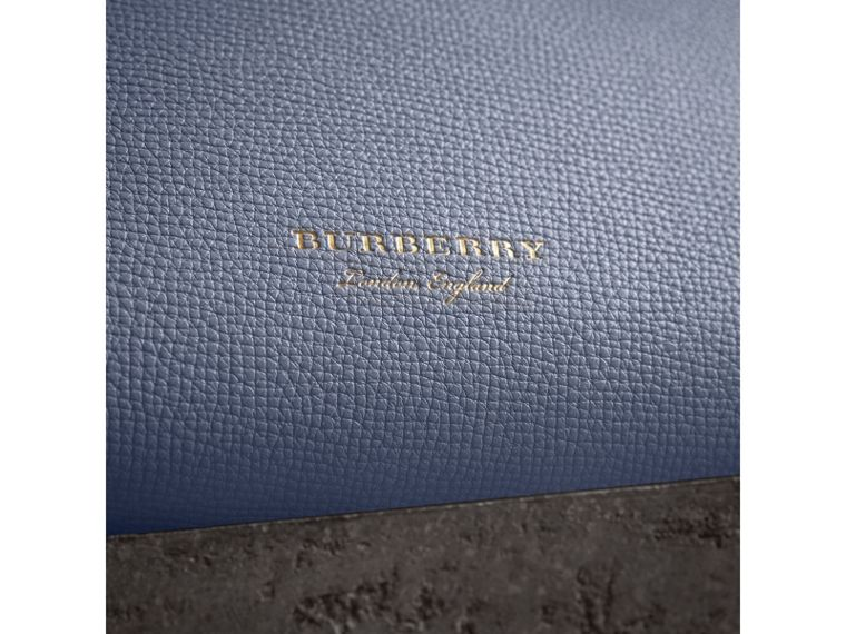 The Small Banner in Leather and House Check in Slate Blue - Women | Burberry - cell image 1