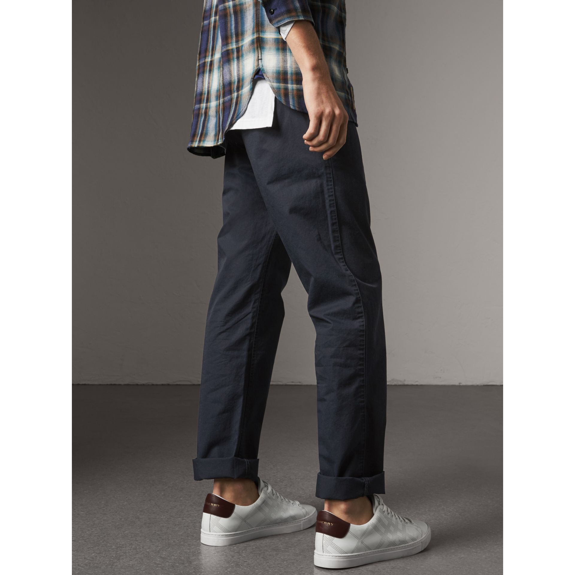 Straight Fit Cotton Chinos in Ink - Men | Burberry - gallery image 3