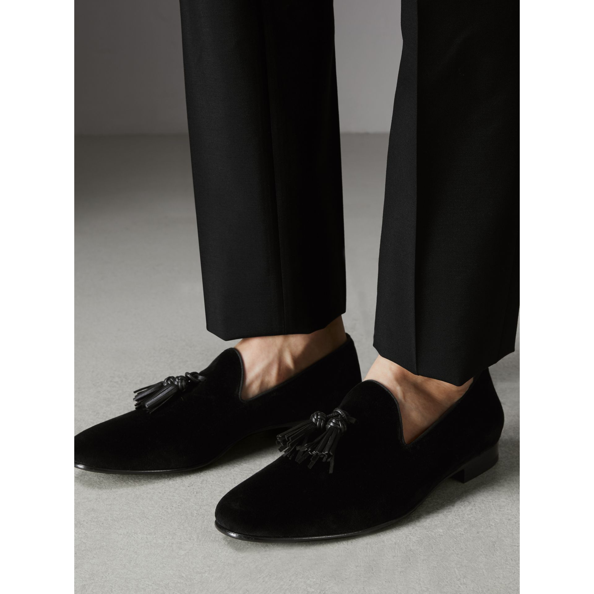 Tassel Detail Velvet Loafers in Black - Men | Burberry - gallery image 2