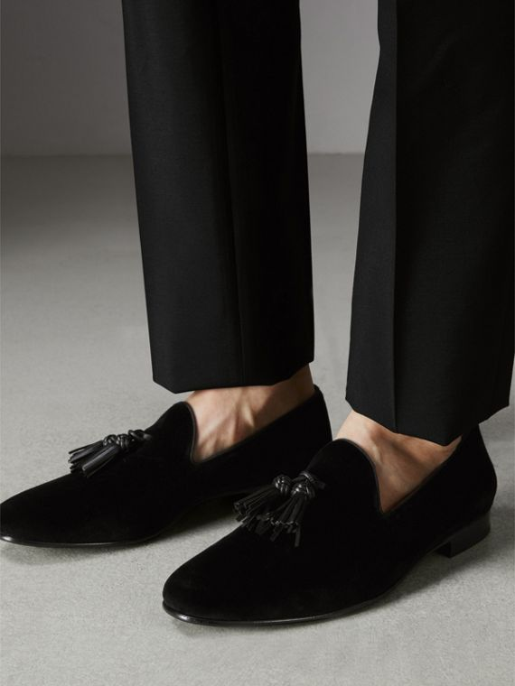 Tassel Detail Velvet Loafers in Black - Men | Burberry - cell image 2