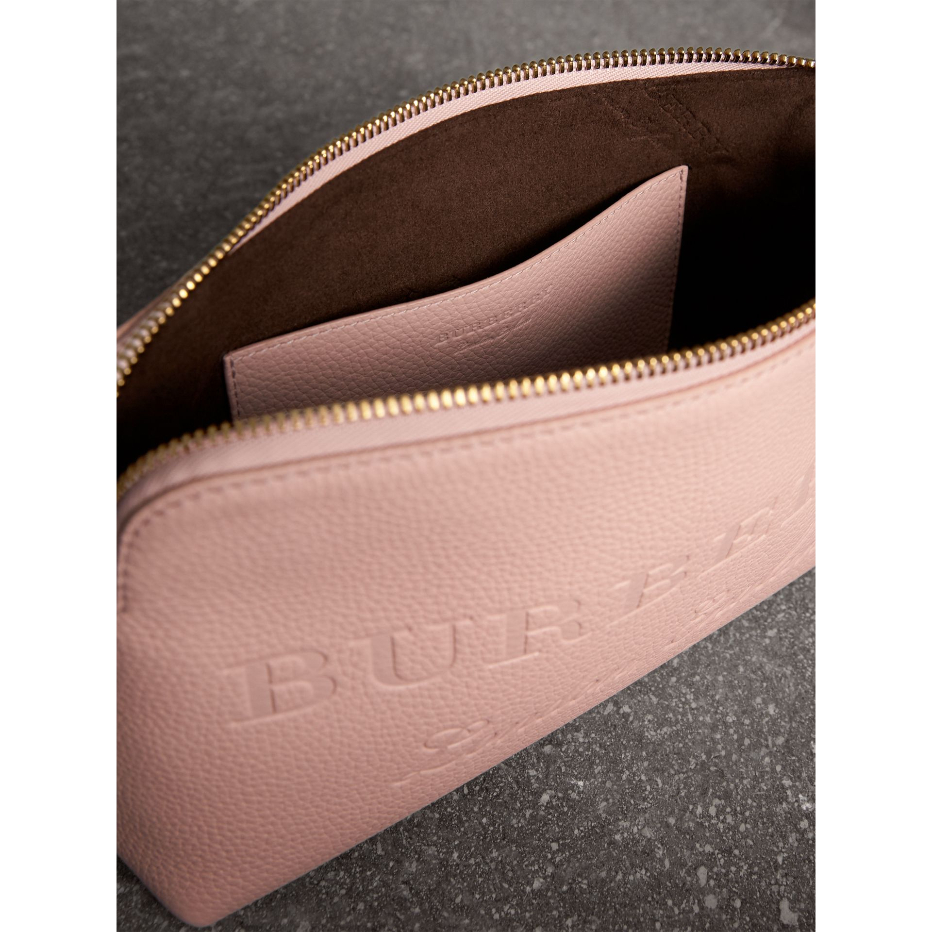Embossed Leather Clutch Bag in Pale Ash Rose - Women | Burberry - gallery image 6