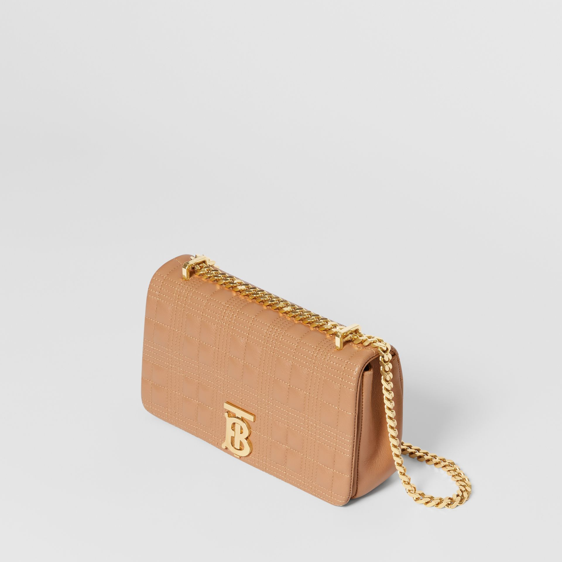 Small Quilted Check Lambskin Lola Bag in Camel | Burberry - gallery image 1