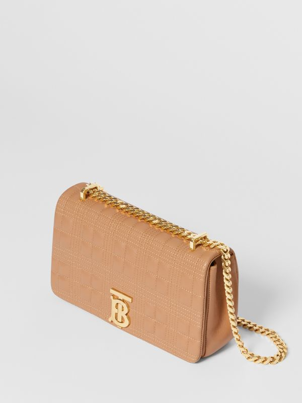 Small Quilted Check Lambskin Lola Bag in Camel | Burberry - cell image 2