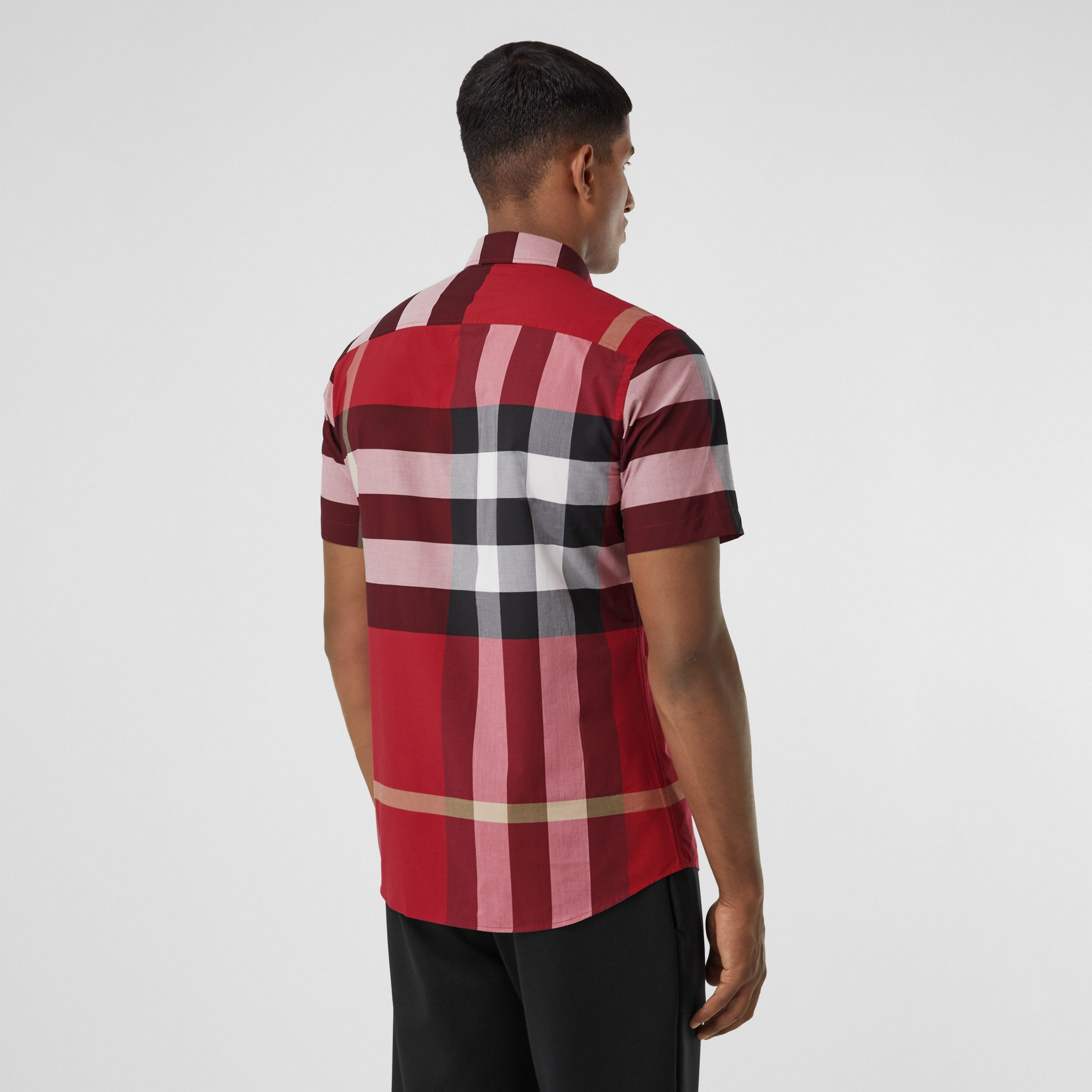 Short-sleeve Check Stretch Cotton Poplin Shirt in Parade Red - Men | Burberry - 3